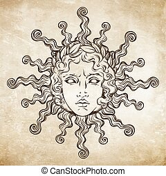 Hand drawn antique style sun with face of the greek and...