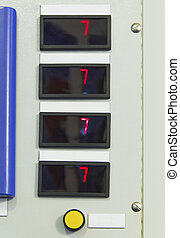 Digital indicators on electrical control panel