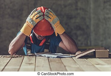 Disappointed Sad Contractor - Disappointed Sad Caucasian...