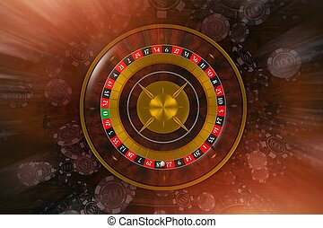 Classic Roulette Wheel Game with Blowing Casino Chips....