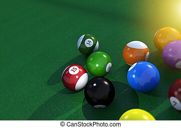 Billard Pool Table Balls - Billard Pool Balls on the Green...