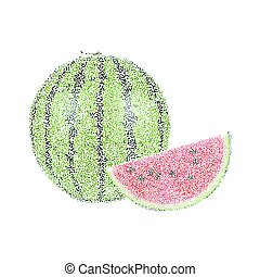 Tropical nature fresh colorful stippling fruit isolated...