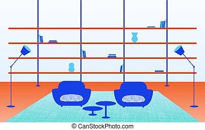 Illustration of modern home interior - Vector illustration...