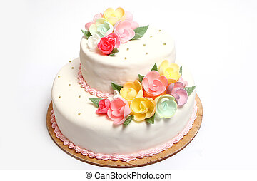 Wedding cake with color flores - Wedding cake with color...