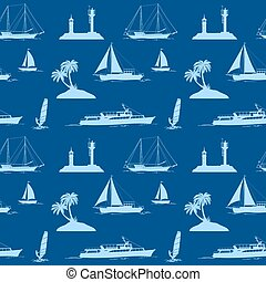 Objects Related to Sea, Seamless - Seamless Pattern, Objects...