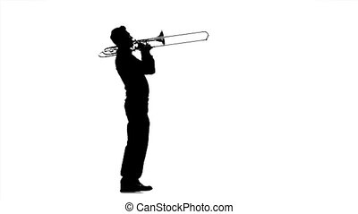 Musician man playing on trombone. Black silhouette on white...
