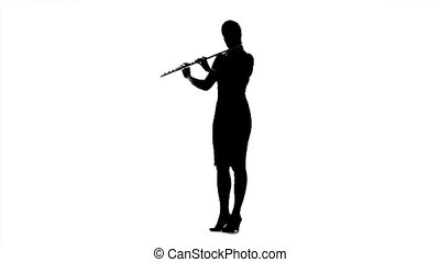 Girl musician playing on flute. Black silhouette on white...