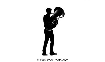 Musician man playing on tuba. Black silhouette on white...