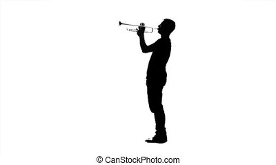 Professional musician playing on trumpet. Black silhouette...