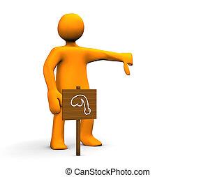 Impotence - Orange impotent cartoon isolated on white...