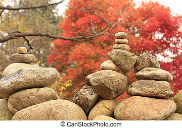 Zen religion stone during autumn in Nami Iland in Korea