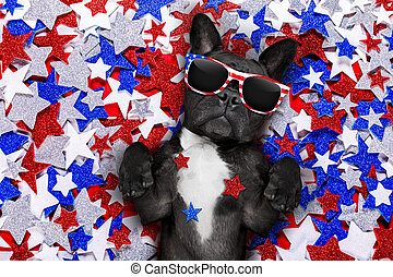 independence day 4th of july dog - french bulldog waving a...