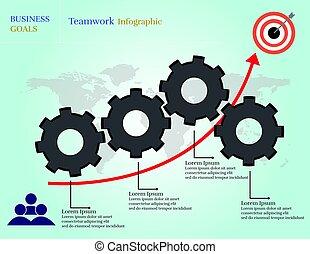 Business goals teamwork infographic