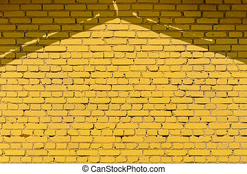 Yellow brick wall texture with roof shadows