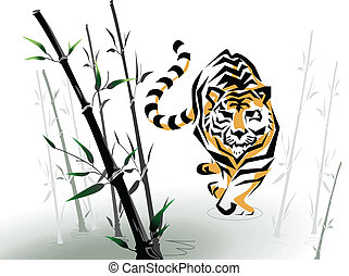 vector tiger in bamboo - vector tiger crawling among bambo...