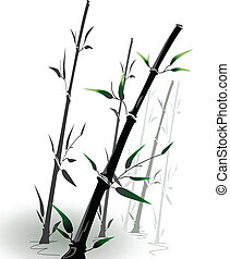 vector bamboo branches in a small pool in eastern style