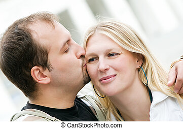 Young amorous couple in love