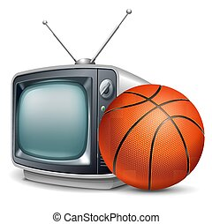 Basketball channel. Basketball ball and retro television....