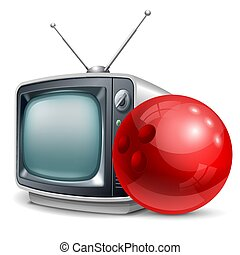 Bowling channel. Bowling ball and retro television. Vector...