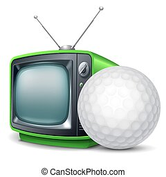 Golf channel. Golf ball and retro television. Vector...