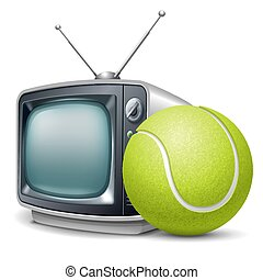 Tennis channel. Tennis ball and retro television. Vector...