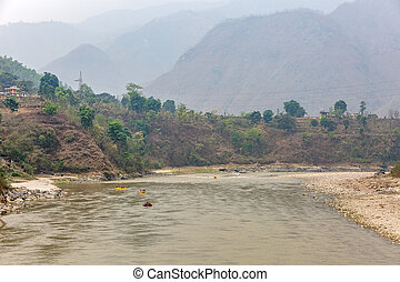 Mountain landscape and rafting on Trishuli river