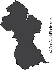 Guyana map in black on a white background. Vector...