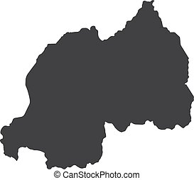 Rwanda map in black on a white background. Vector...