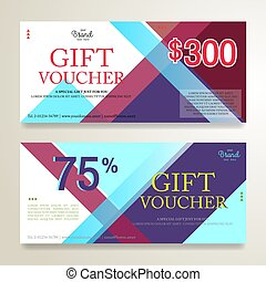 Gift voucher or gift card on colorful abstract stripe