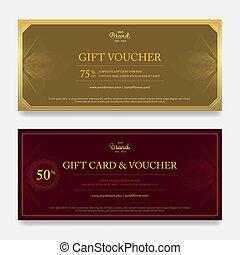 Elegant gift voucher or gift card on abstract flower swirl...