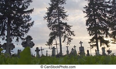 Old Cemetery Graveyard - Dusk shot of old graveyard, ancient...