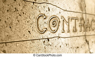 word contact on wall with egyptian alphabet