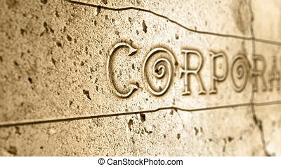 word corporate on wall with egyptian alphabet