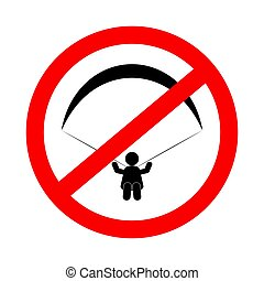 No paragliding sign, symbol flat icon. Vector illustration