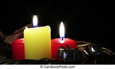 Candles and gift box
