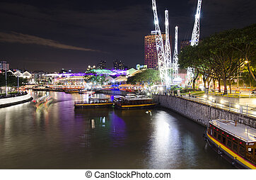 Singapore river by night - view of singapore river close to...