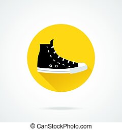 Black sneaker icon. Black high top canvas shoe. Modern flat design round vector icon with long shadow