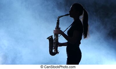 Silhouette professional musician female playing on...
