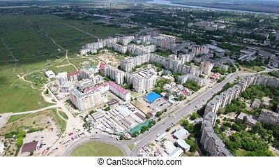 Aerial shot of Kherson city outskirts and the Dnipro river...