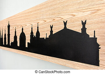 Cityline of Lviv old city carved in wood - Cityline of Lviv...