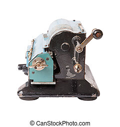 isolated calculating machine side view - Old blue...