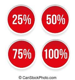Percent sticker set vector