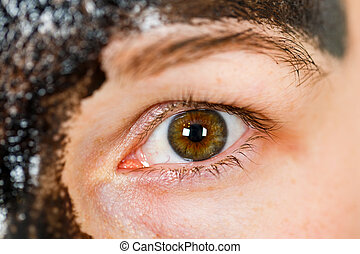 Young woman's hazel eye - Close up photo of young woman's...