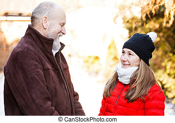Elderly man with the young carer