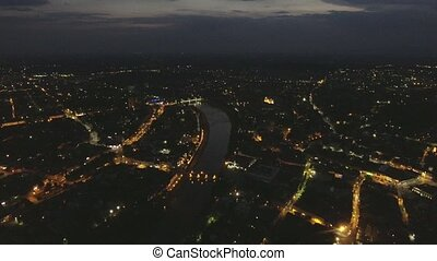 Flying over night Uzhgorod city Ukraine