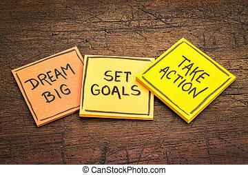 ensemble, prendre, grand,  action, buts, rêve