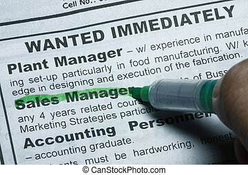 Wanted job immediately - concept for kobs, emplyment and...