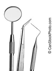 set of dental care tool - Set of metal medical equipment...