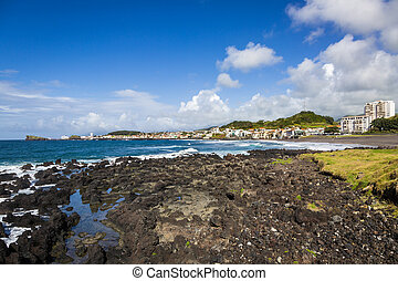 Coast town of Sao Rogue on the island of Sao Miguel - The...