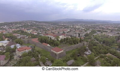 Aerial view of the Uzhhorod Castle, Ukraine.